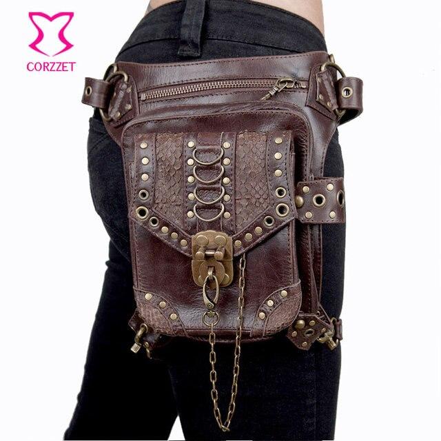 Women Men Brown Pu Leather Gothic Rock Leg Bag Steampunk Thigh Holster Shoulder Waist
