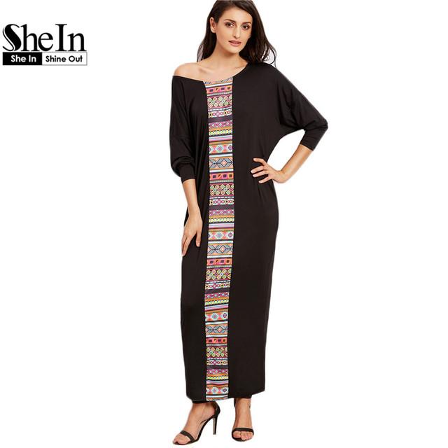 Shein maxi vestidos longos roupas femininas vintage tribal preto pescoço da colher de impressão queda ombro manga comprida solta maxi dress