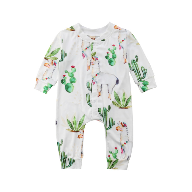 Cactus Kids Baby Girl Clothes Outfit Alpaca Long Sleeve   Romper   Jumpsuit Pants