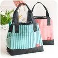 Raya la tela de oxford bolsas de almuerzo para las mujeres niños alimentos bolsa con cremallera de Alta calidad de la lona de la raya bolsas