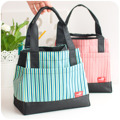 Stripe oxford fabric lunch bags for women kids food tote with zipper High quality stripe canvas bags