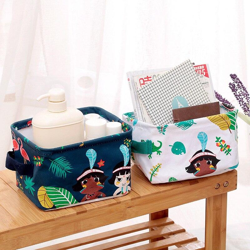 Cotton Desktop Storage Basket INS Cute Printing Waterproof Linen Sundries Cosmetics Storage Box Toy Makeup Storage Bag Organizer