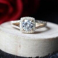 Độc đáo 1ct 6.5 mét Round Cut Moissanite Engagement Ring Halo Kim Cương Moissanite Wedding Ring Bridal Vòng