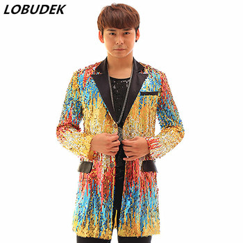 Tide Male Singer Punk Rock Costume Stage Outfit Colorful Sparkly Sequins Long Jacket Coat Fashion Slim Blazers Star Show Suit