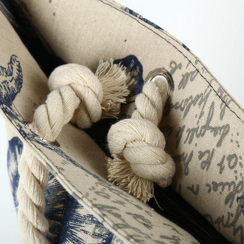 Rdywbu 2018 Paris Tower Shell Printing Canvas Beach Shoulder Bag Women's Creative Rope Shopping Bag Big Summer Tote Handbag B103 5