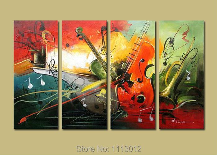 Nová červená moderní hudební kytara poznámka dopis olejomalba na plátně abstraktní 4 sady typů panelů domácí nástěnné umění dekor pro obývací pokoj
