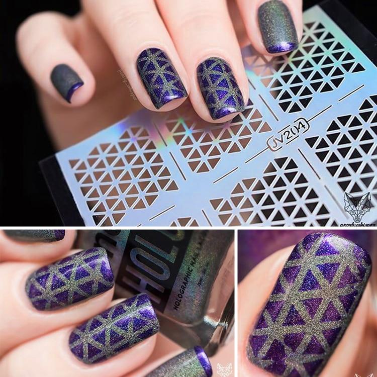 12 Tips/Sheet Irregular Chic Triangle Rose Flowers Pattern Nail ...