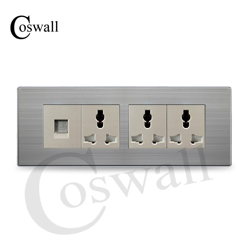 COSWALL Luxury Universal Power Socket 3 Way Wall Outlet With ...