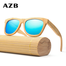 AZB Fashion Brand Designer Wood Sunglasses Polarized Men Wooden Bamboo Sun Glasses  UV400 High Quality Eeywear
