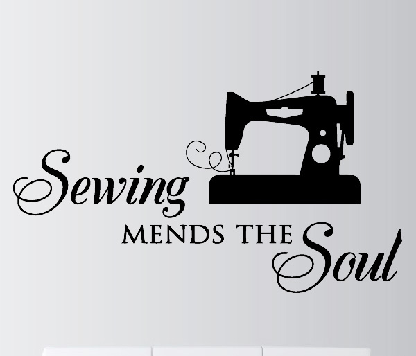 Quote Wall Stickers Sewing Mends Soul Vinyl Decal Home Decor Simple Lettering Sewing Machine