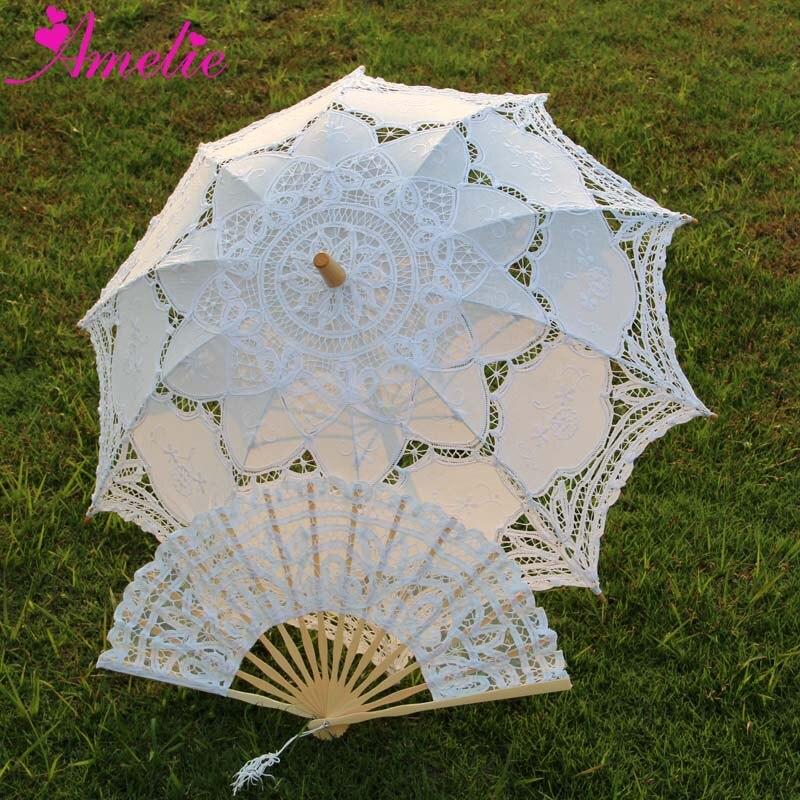 Adult Size Vintage Battenburg Lace Parasol And Fan Sun Umbrella Set Bride Forest Party Shower Photo Prop Decoration Umbrella Fan