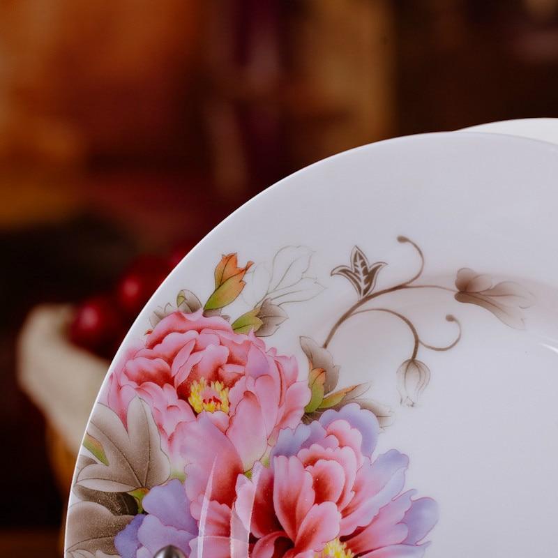 6pcs set Chinese Dining Room Ceramic Tableware Jingdezhen Bone China Porcelain Dinnerware 8 inch Deep Soup