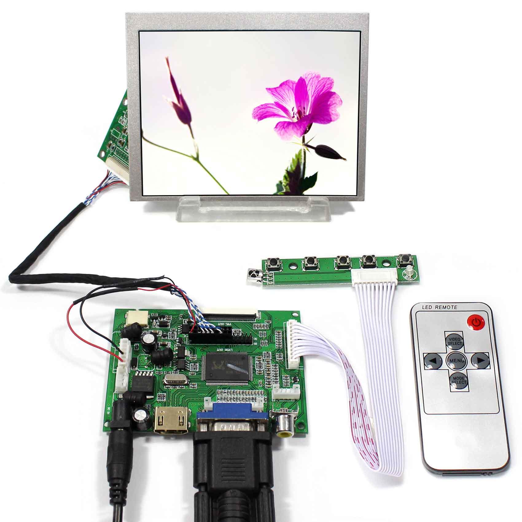 все цены на HDMI+VGA+2AV LCD Driver Board LVDS Tcon With 5.6inch 640X480 AT056TN53-V1 LCD Screen онлайн