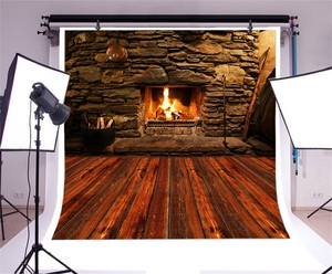 Image 3 - Laeacco Stone Wall Wooden Floor Fireplace Fire Wood  Photography Backgrounds Customized Photographic Backdrops For Photo Studio
