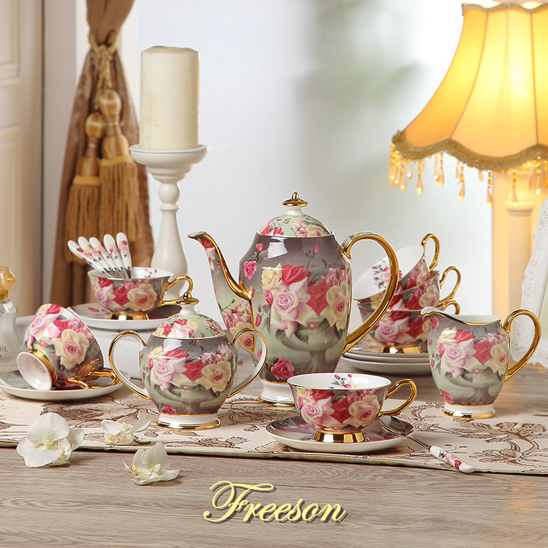 Eropah Vintage Rose Bone China Set Kopi Porselin British Tea Set Ceramic Pot Creamer Sugar Bowl Teatime Teapot Coffee Cup Mug