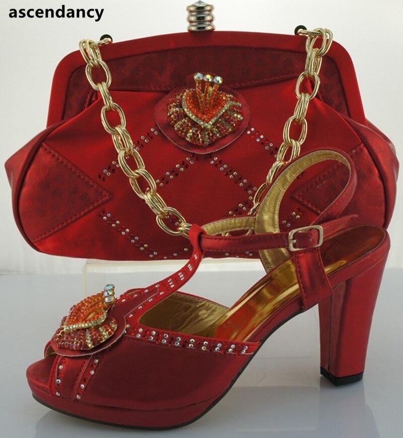 Femmes Chaussures Strass Italien Et Avec Décoré Rose Sac Italiennes Ensemble Dames Africaines rouge 0N8mnwvO
