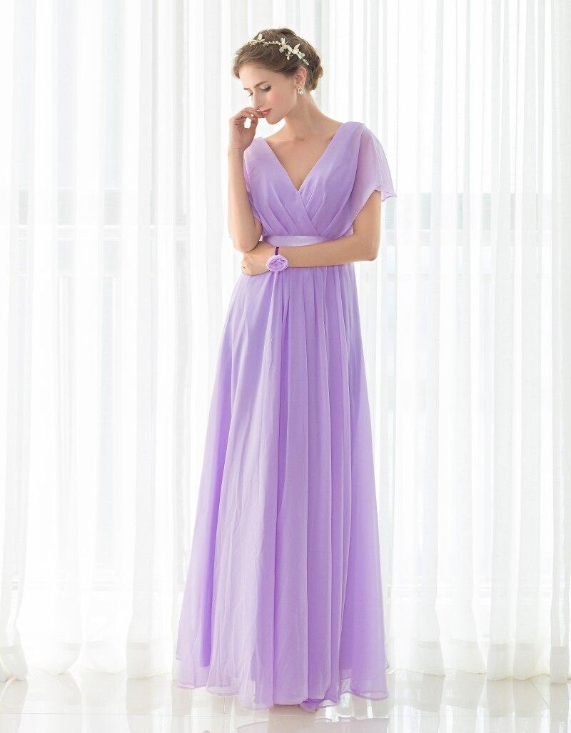 Envío libre Elegante Luz Púrpura Damas de Honor Vestidos Largos ...