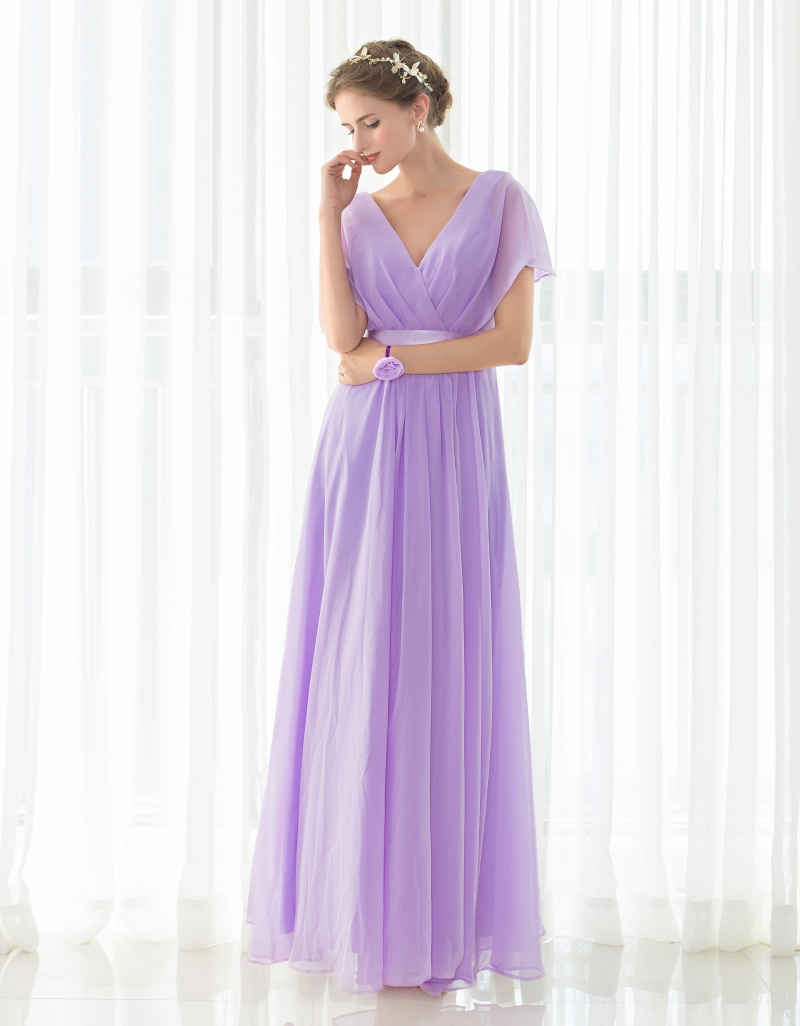 4d81ecf0d4 Free shipping Elegant Light Purple Long Bridesmaids Dresses Cheap Party  Dresses V Neck Draped Chiffon Party gowns In Stock -in Bridesmaid Dresses  from ...