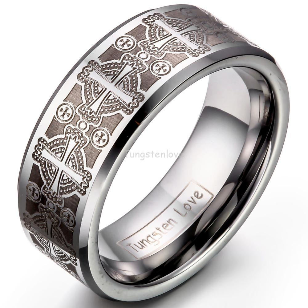 8mm Vintage Gothic Laser Etched Cross Tungsten Engagement Rings For Men  High Quality Mens Jewellery Anillos