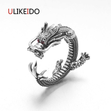 Фотография Us 6 to 11 S925 Sterling Silver Jewelry Dragon Rings With Garnet Natrual Stone Red Eyes Punk Ring For Men Vintage Jewelry 694