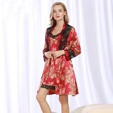 SSH072, женский халат, набор платьев, высокое качество, атласный шелк, кружево, халат,, Femme, сексуальная одежда для сна, домашний костюм, ночное платье, халат, набор