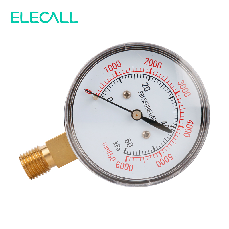 ELECALL YE-60 0~60KPA Air Diaphragm Pressure Gauge Phosphor Bronze Film Box Pressure Gauge Positive Pressure Meter
