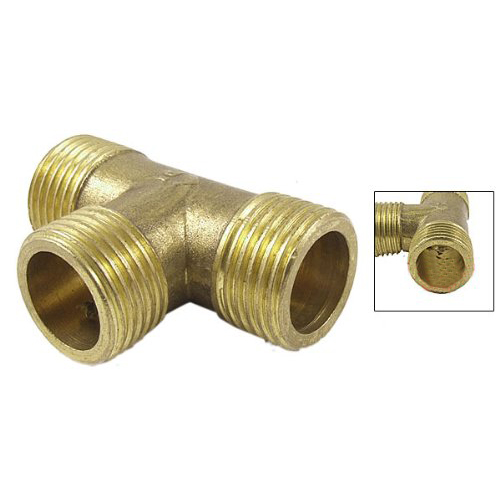 Brass Gold T Shape Water Fuel Pipe Equal Male Tee Connector 1//2 50 x 34mm