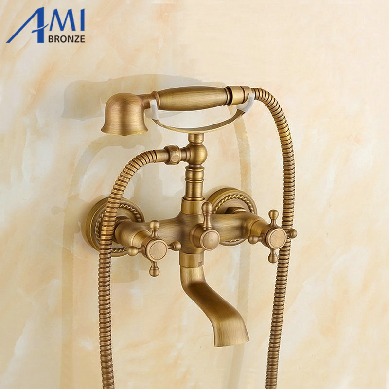 цены  Antique Brushed Brass faucets bathroom bathtub mixer tap faucet with telephone hand shower set Bath & Shower Faucets