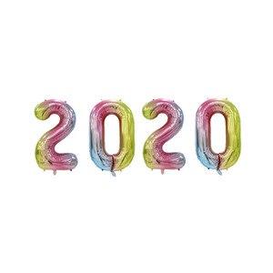 Image 2 - 4Pcs 2020 Aantal Folie Ballonnen Zilver Digit Air Ballonnen Kerstversiering Gelukkig Nieuwjaar 2020 Globos Nieuwjaar Decor
