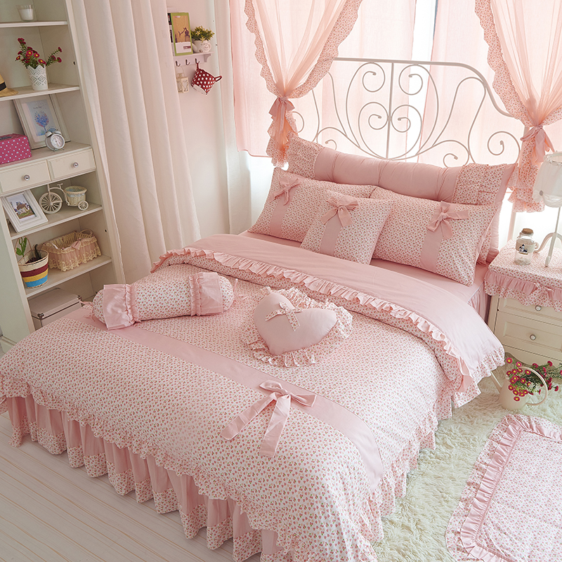 Cherry Printing 100 cotton bedding sets king queen size Bow design quilt cover Ruffles bedspread bed linen pillowcases 4/6/8PCS