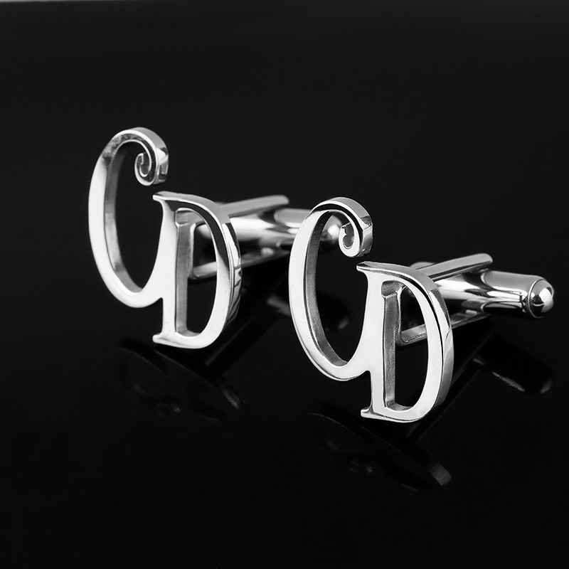 925 Sterling Silver Cufflinks Men Initials Customized Letter Cufflinks High Quality Men Wedding Fashion Jewelry Shirt Button free shipping high quality men s shirt cufflinks plane anchor bike car motorcycle transportation automobile cufflinks