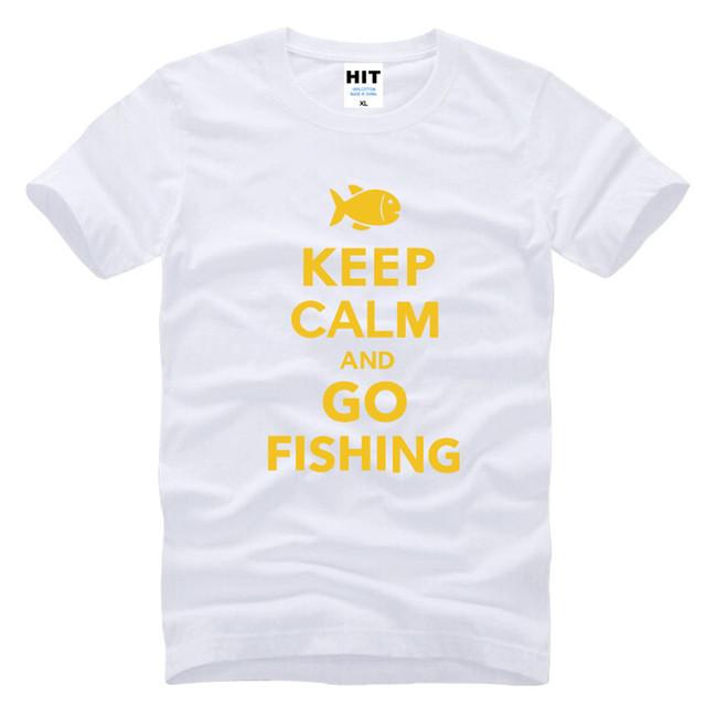 Mantenha A Calma e Ir Pescar Engraçado Criativo Dos Homens Homens T Tshirt da camisa 2016 Algodão de Manga Curta T-shirt Novidade Tee Camisetas Hombre