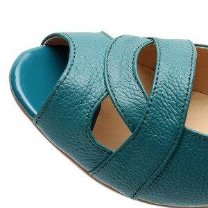 Image 4 - OUKAHUI אמיתי עור אלגנטי סנדלי נשים קיץ נעלי להחליק על סקסי פיפ הולו גבירותיי סנדלי טריזי 4cm כיסוי העקב 43