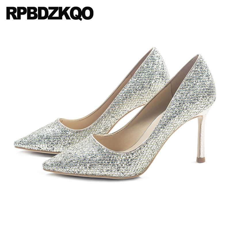 Glitter 2018 Wedding Bride Golden Gold Bridal Shoes Sequin Ladies Pumps Runway Pointed Toe Stiletto Size 4 34 High Heels Silver 4 34 small size gold shoes wedding pointed toe 7cm 3 inch satin high heels stiletto 33 flower pumps ladies colourful embroidery