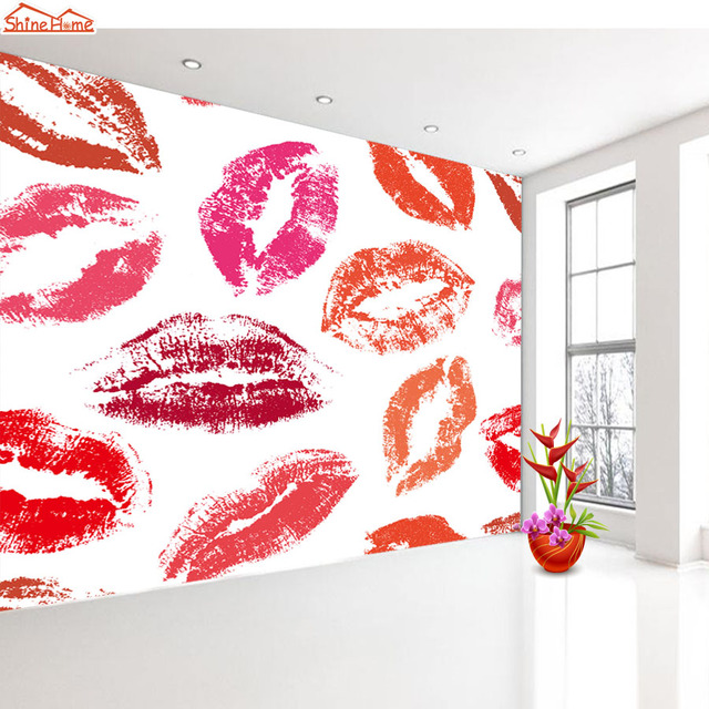 ShineHome Large Custom Lip Hand Feet Photo Wallpapers 3d for Wall ...