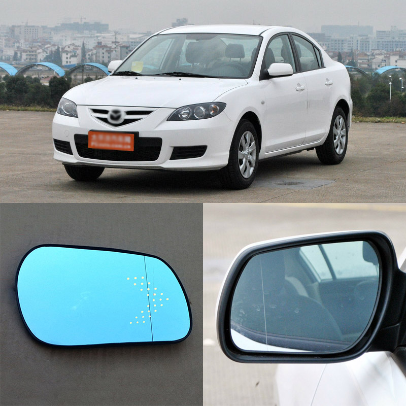 For Mazda 3 Brand New Car Rearview Mirror Blue Glasses LED Turning Signal Light with Heating for volkswagen sagitar brand new car rearview mirror blue glasses led turning signal light with heating