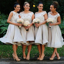 Boat Neck Lovely Tea Length Bridesmaid Dresses 2017 vestidos de formatura Lace Formal Gowns for Wedding Party New Fashion