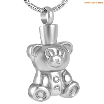 KLH8657-9 Teddy Bear Stainless Steel Memorial Keepsake Necklace for Loss of Loved One,Cheap Wholesale Cremation Jewelry Child
