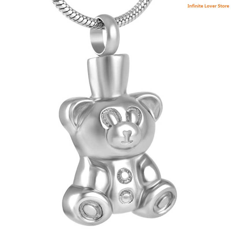 KLH8657 9 Teddy Bear Stainless Steel Memorial Keepsake Necklace for Loss of Loved One,Cheap Wholesale Cremation Jewelry Child