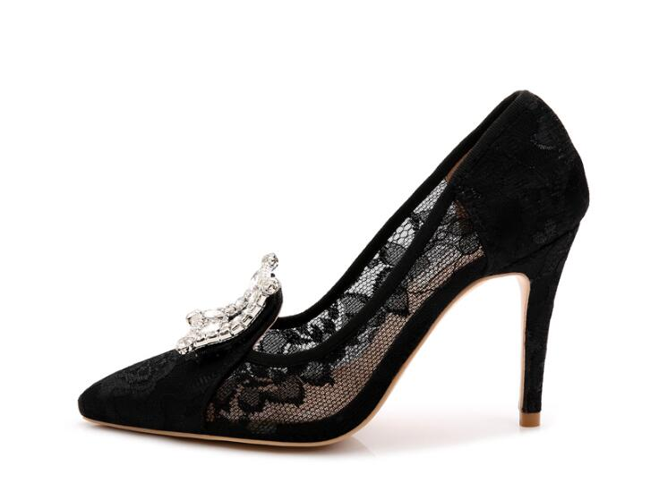 2017 spring women new high heel black lace crystal decoration slip-on 9.5 cm high thin heels pointed toe women party sexy shoes trendy thin heel pointed toe women polka dot pump spring slip on high heels black white stiletto 2018 brand fetish factory shoes