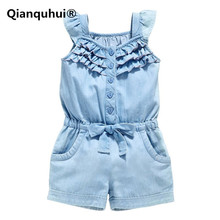 Qianquhui 2017 Summer New Kids Girls Clothing Rompers Denim Blue 100% Cotton Washed Jeans Sleeveless Bow Jumpsuit Denim Blue