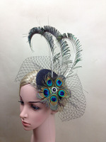 Novelty Peacock Eye Peacock Feather Style Bride Photo Modeling Gauze Veil Hat Hairpin Prom Headdress Hair Accessories Headwear