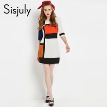 Sisjuly vintage dresses patchwork o neck knee length a line geometric zipper elegant autumn female vintage