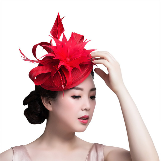 d3ab237e356 2018 New Paris Women Feather Fascinator Hair Clip Bride Flower Sinamay Fascinator  Hat Wedding Cocktail Party