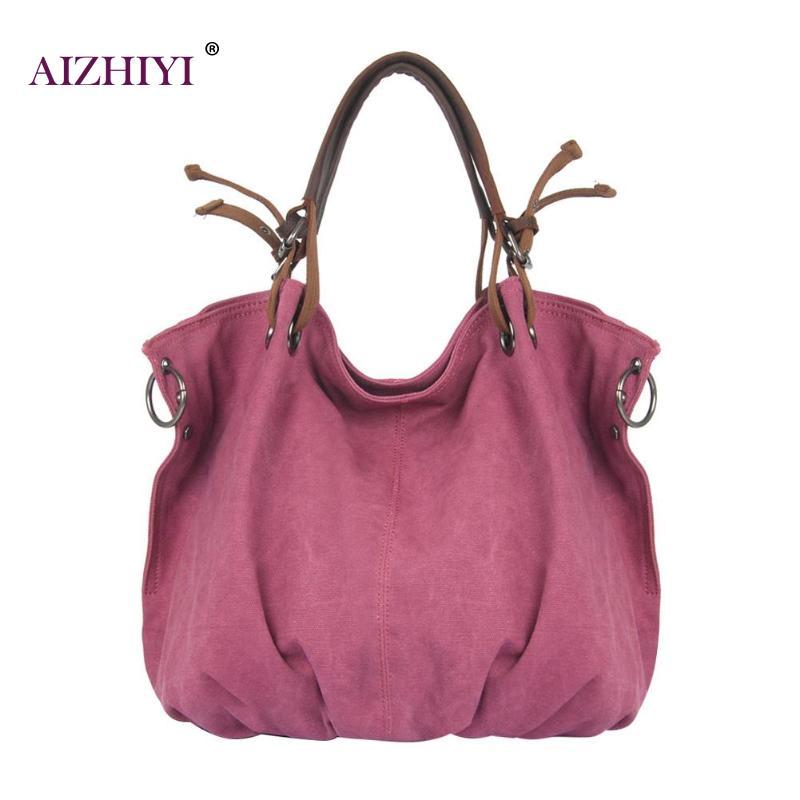 Women Retro Canvas Handbags Ladies Shoulder Bag with Strap Travel Hobo Big Capacity Casual Totes Bolsa Feminina 46 X 36 X 17cm