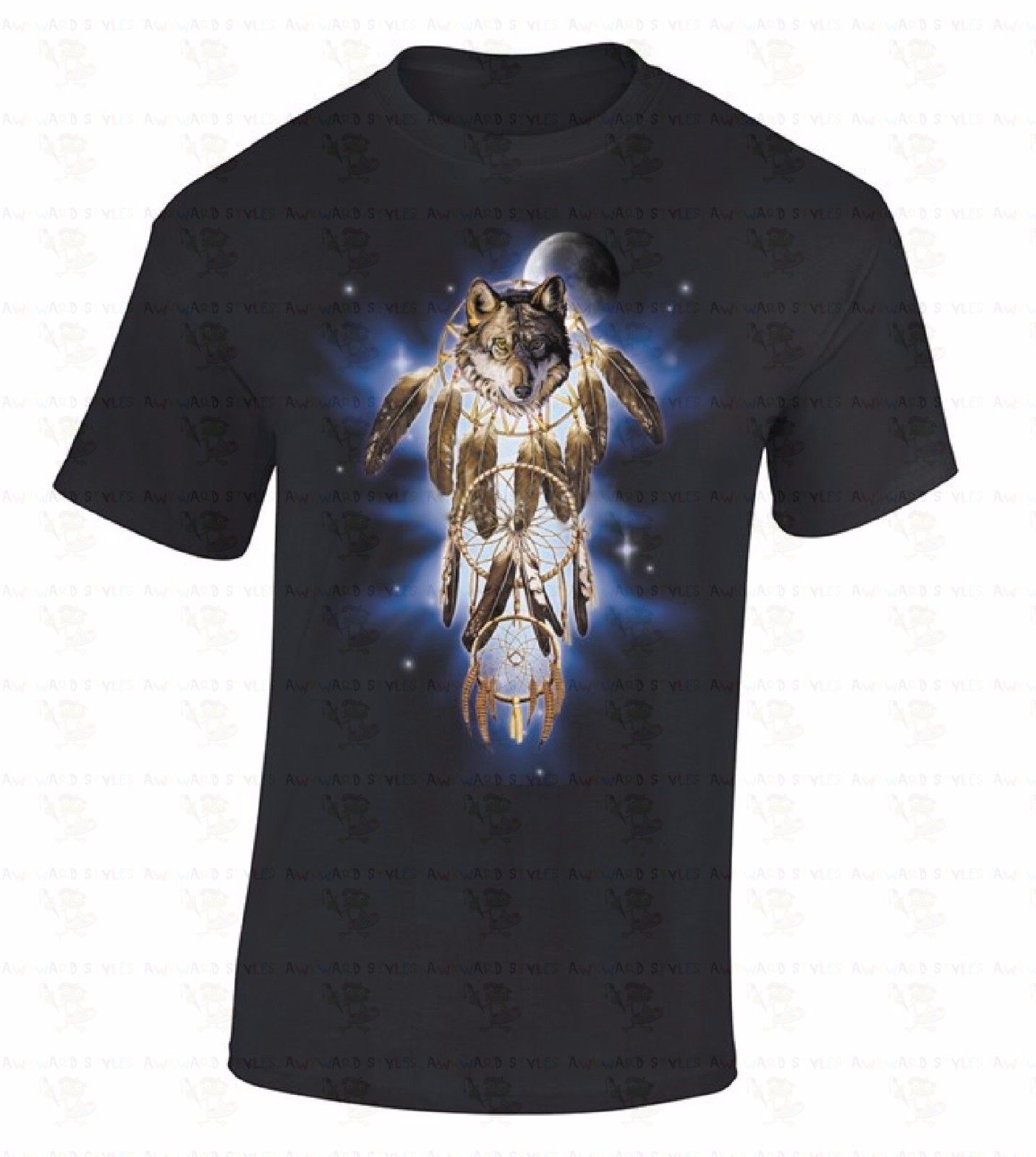 Black Cotton Hip Hop T Shirt Print Tee Shirts O-Neck Dream Catcher Wolf Space Native American Indian Spirit Feathers Men Shirts