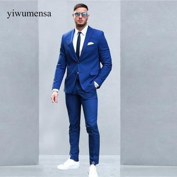 Custom made Two Buttons Royal Blue Men Suits 2018 Fashion Design Business Men Tuxedo Skinny Style Men's Prom Suit (Jacket+Pants)