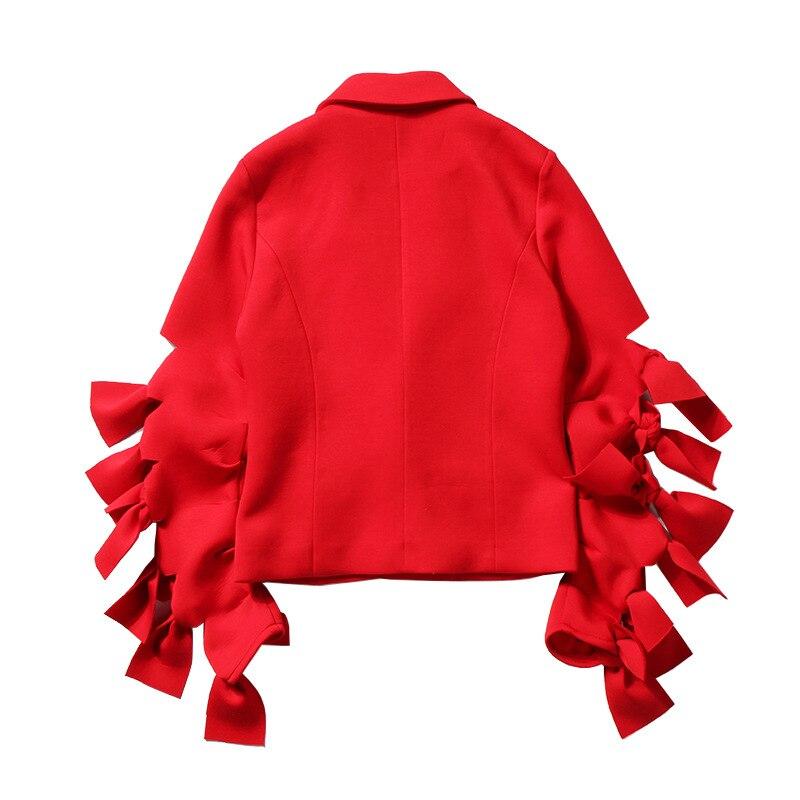 Dentelle Manteau Noeud 2018 Survêtement Costume Arcs 3d Mince Bureau Vestes Manches Nouveau Rouge Blazers Up Lt293s50 Élégant Femmes OPw8Odq