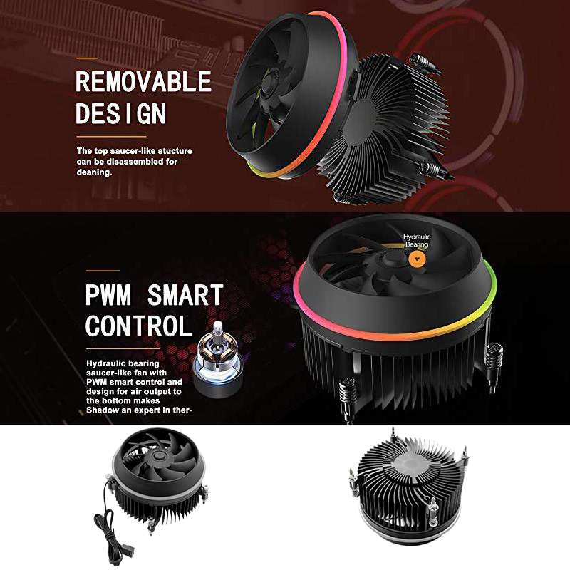 Image 5 - darkFlash Shadow CPU Cooler AURA SYNC Cooling Double Ring LED Fan PWM 100mm 4 pin Radiator for intel Core i7 LGA 115x TDP 280WFans & Cooling   -