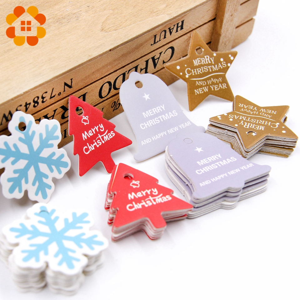 100pcs colorful multi style christmas series wedding birthday paper tags diy crafts hang tag labels gift wrapping decor supplies